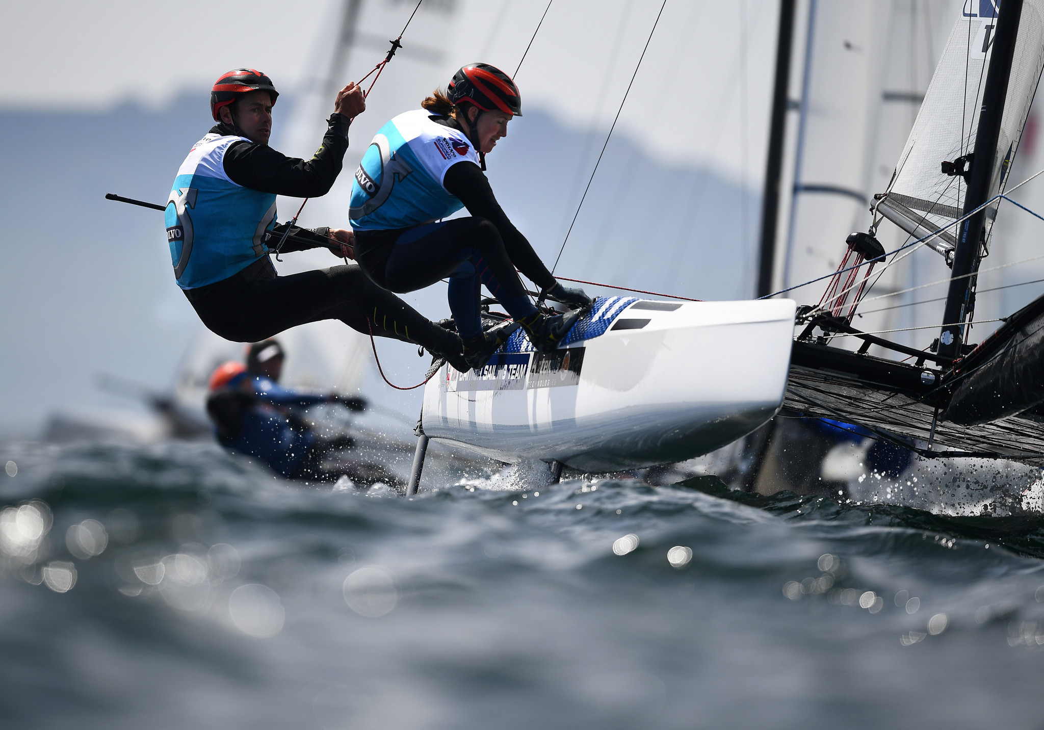 Great Britain's John Gimson and Anna Burnet have taken the lead in the Nacra 17 ©Getty Images