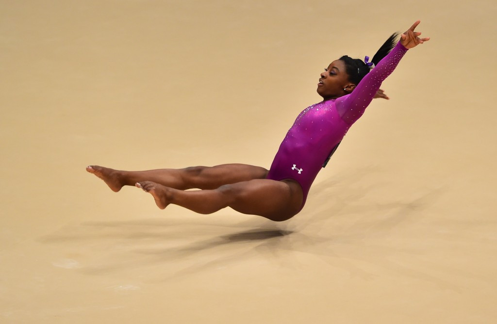 American Simone Biles put in a superb performance on the floor to earn her 10th World Championships gold ©Getty Images