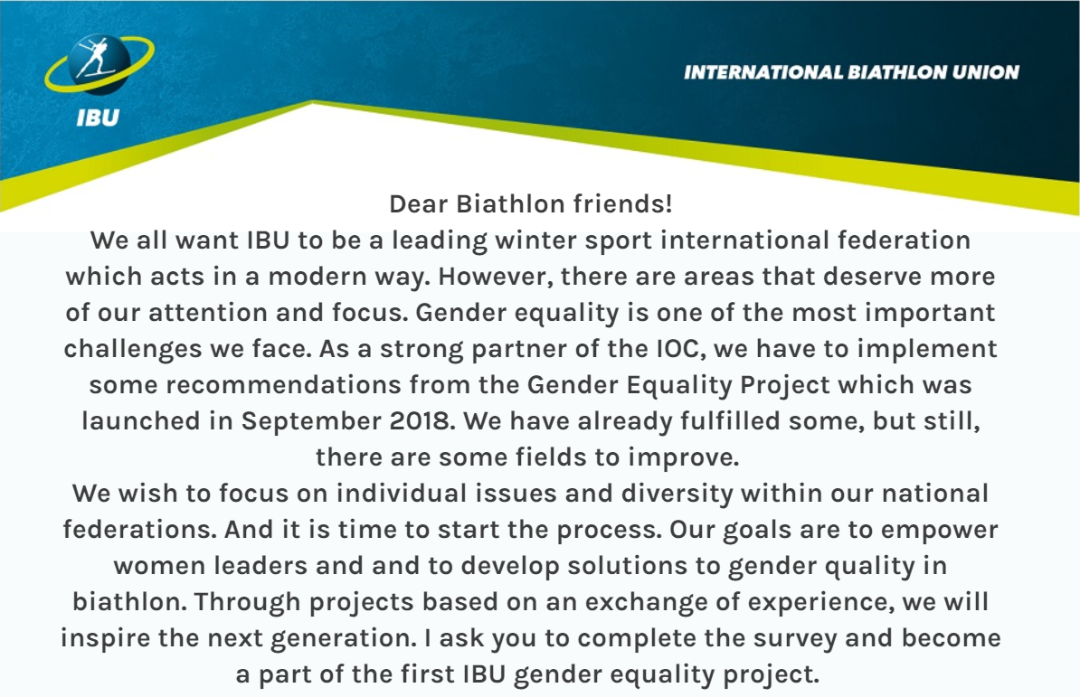 All national federations are being invited to take part in an online survey to help the gender equality project grow further ©IBU