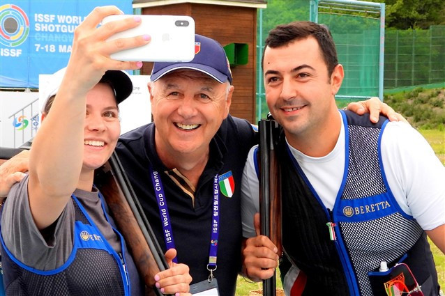 Italy's Silvana Stanco and Daniele Resca won the trap mixed team gold at the ISSF Shotgun World Cup in Changwon ©Getty Images