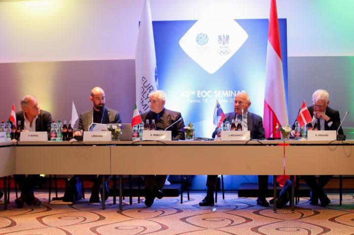 EOC President Janez Kocijančič, pictured second right at today's Executive Committee meeting in Vienna, has faith that the organisers of Minsk 2019 will respect the host city contract they have signed with regard to their attitude on press freedom during the European Games ©EOC