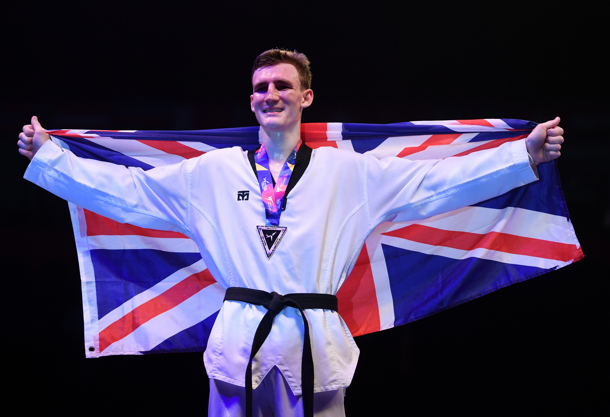 Britain also won gold through Bradly Sinden in the men's under-68kg and he became the first British male taekwondo world champion ©Getty Images