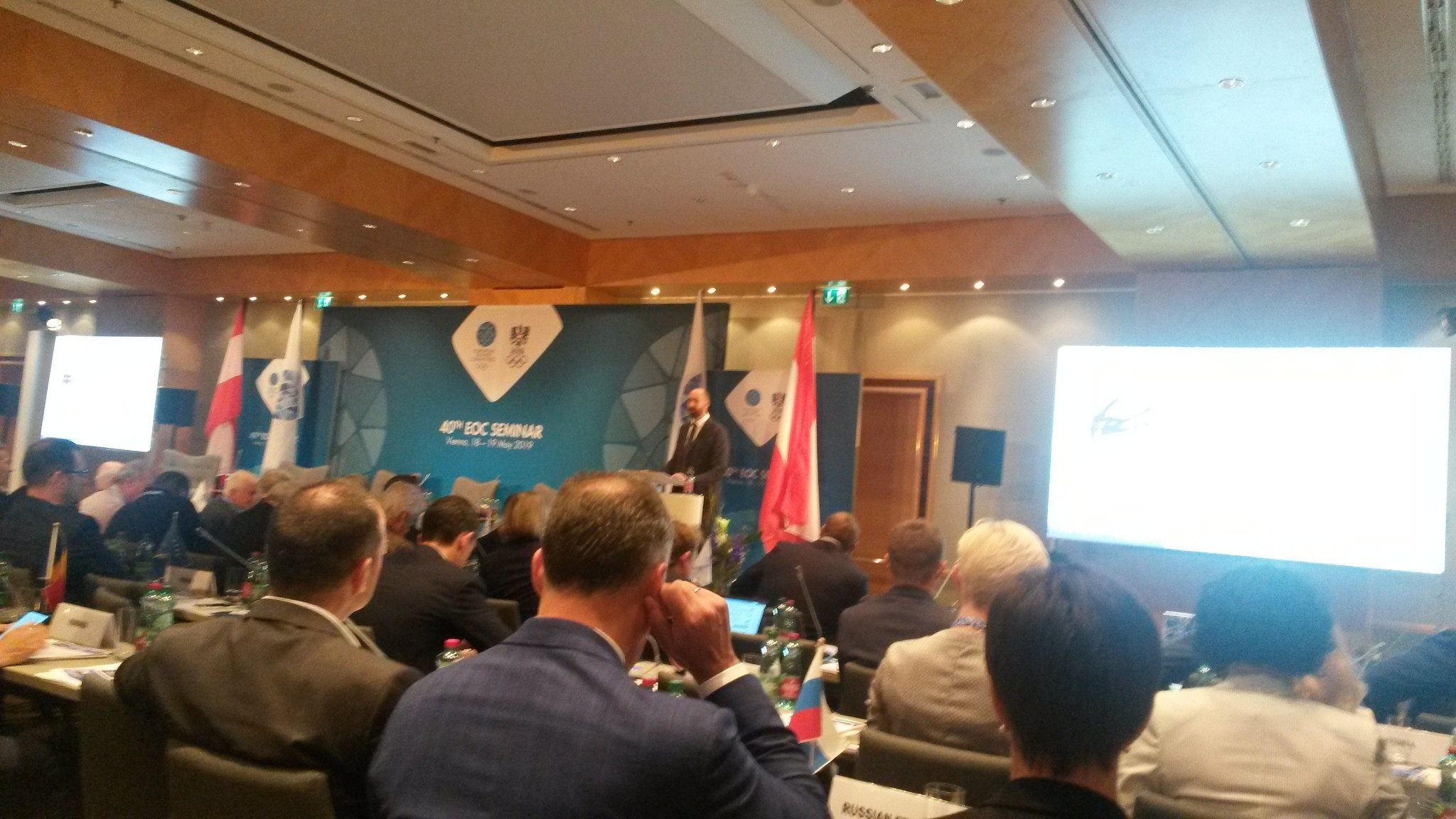 James Macleod, IOC Director NOC Relations Department and Olympic Solidarity, addresses delegates at the 40th EOC Seminar in Vienna this morning ©ITG