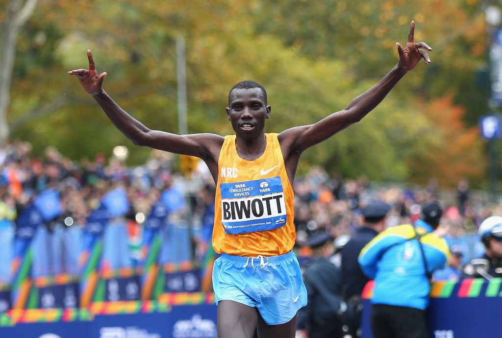 Stanley Biwott crosses the line to win the New York City Marathon today ©Getty Images