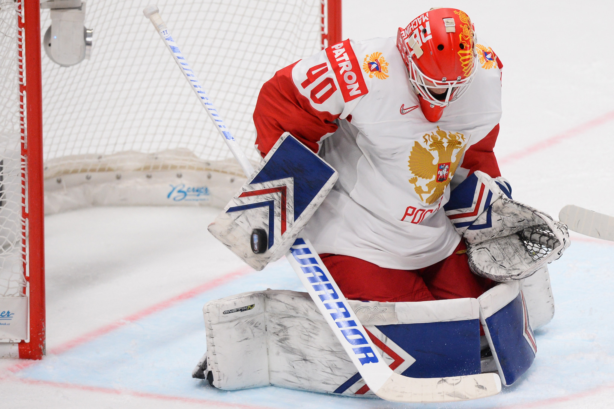 Russia's goaltender Alexander Georgiev makes a save during the 3-0 win over Switzerland tonight at the IIHF World Championship in Bratislava ©Getty Images