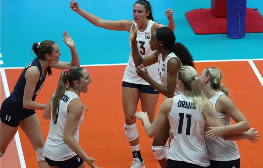 The United States' began the defence of their FIVB Women's Nations League title with a straight-sets win over Belgium in Ruse in Bulgaria today ©FIVB