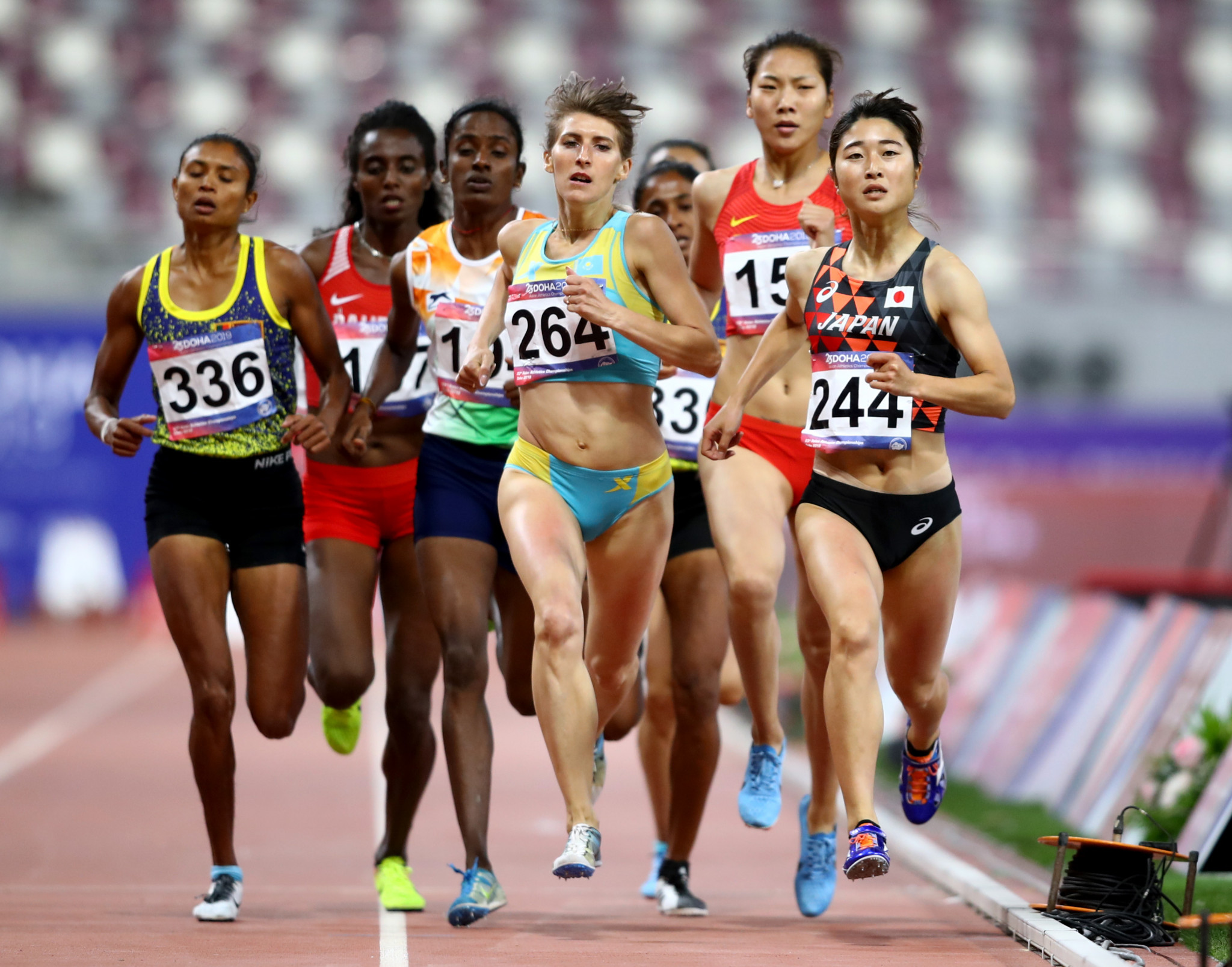 Gomathi Marimuthu of India, third left, stands to lose the Asian women's 800m title she won in Doha last month after testing postive for a banned substance ©Getty Images
