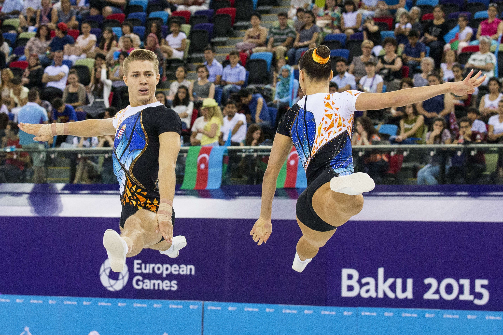Hungary's Daniel Bali, left, competing in the mixed pair, will be seeking to add to his collection of gold medals at this weekend's Aerobic Gymnastics European Championships in Baku ©Getty Images