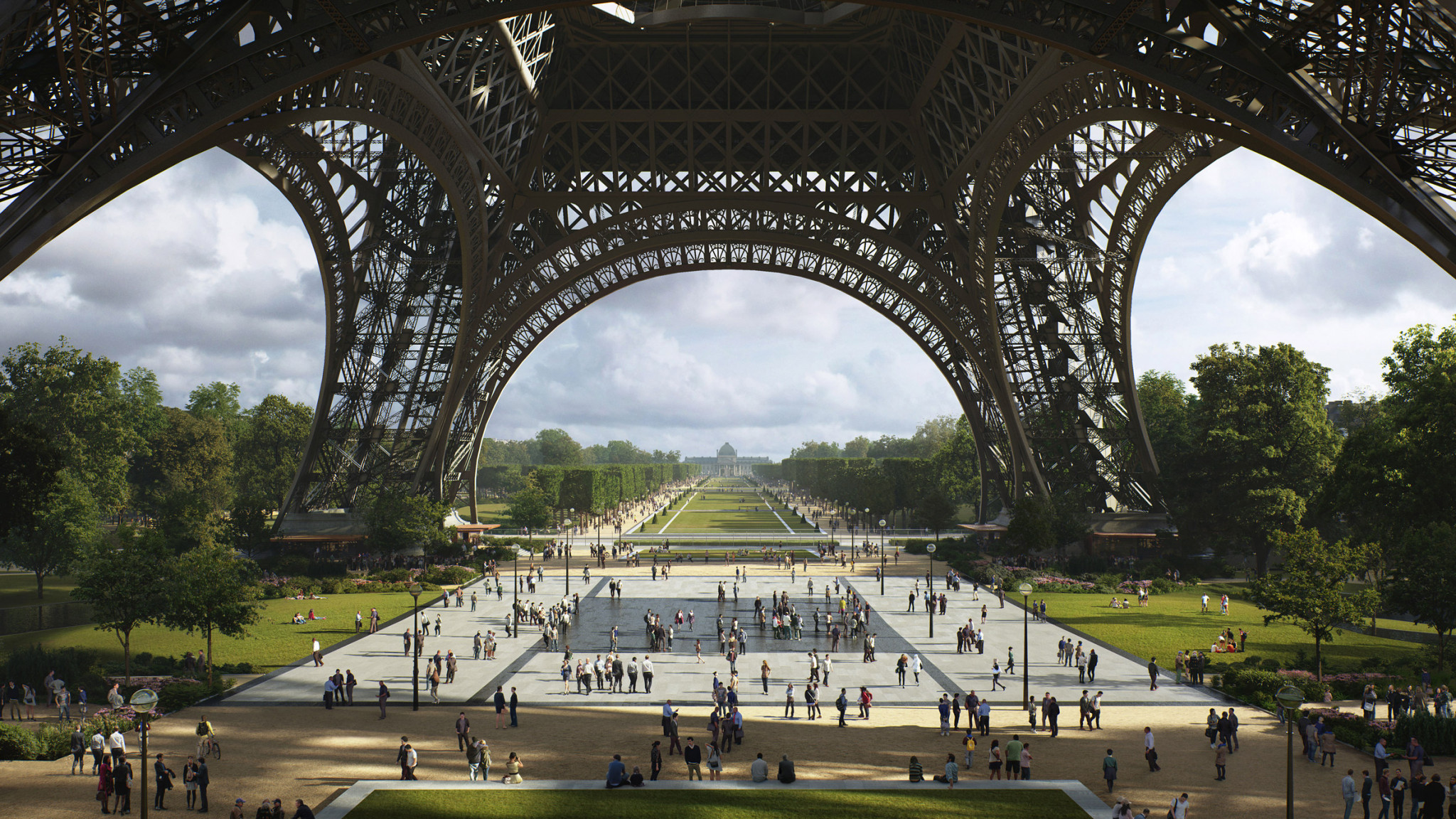 Trees will be planted in all of the new spaces around the Eiffel Tower, contributing to the sustainability of the Paris 2024 Olympic Games ©Gustafson Porter + Bowman