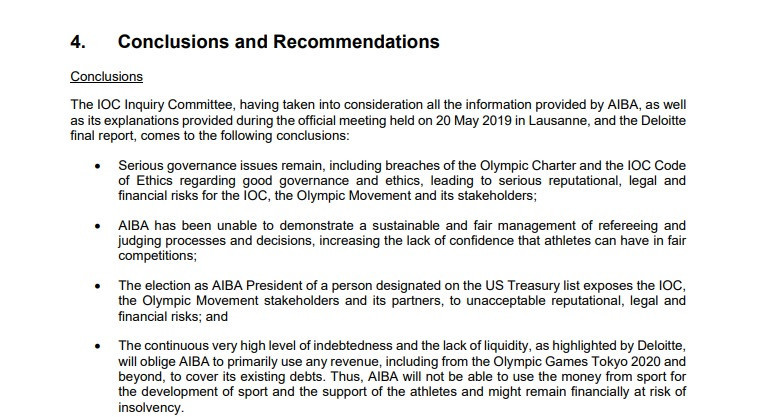 The conclusions of the committee substantiated rumours and allegations which have existed for some time ©IOC