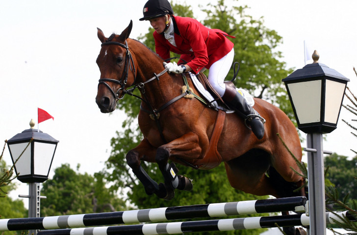 Karin Donckers of Belgium moved up third place in the iindividual competition after today's show jumping phase of the FEI Nations Cup Eventing at Houghton Hall ©Getty Images