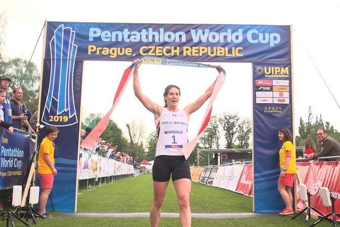 Britain's Kate French earned the third UIPM World Cup win of her career in Prague today, with team-mate Jessica Varley taking bronze ©UIPM