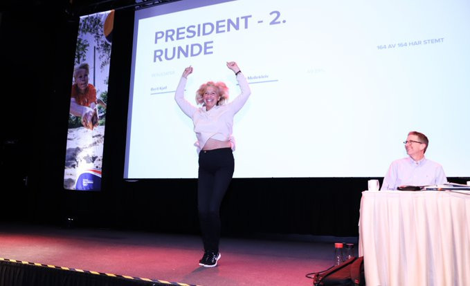 Berit Kjøll pulled off a stunning two-vote victory as she was elected President of the NIF today ©Twitter