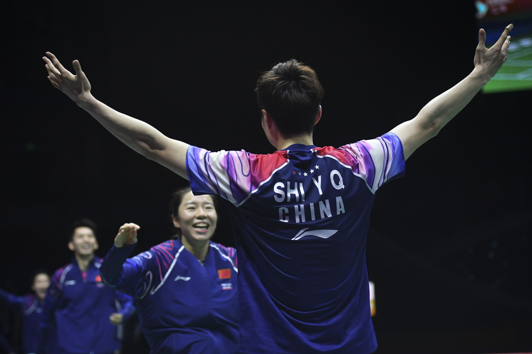 Shi Yuqi celebrates after his victory handed China the Sudirman Cup ©Getty Images