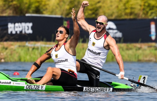 German world champions Yul Oeltze and Peter Kretschmer won the men's C2 1000m at the ICF Canoe Sprint World Cup ©ICF