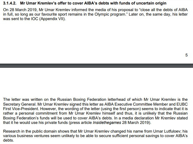 Umar Kremlev's offer was one of several severe concerns outlined by the IOC ©IOC
