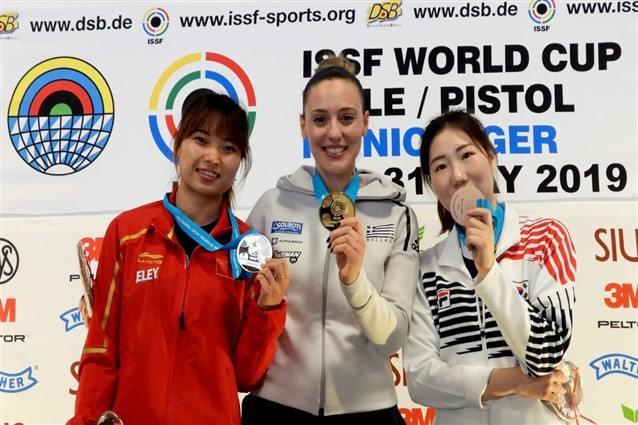 Olympic gold medallist Anna Korakaki of Greece won the women's 10m air pistol event ©ISSF