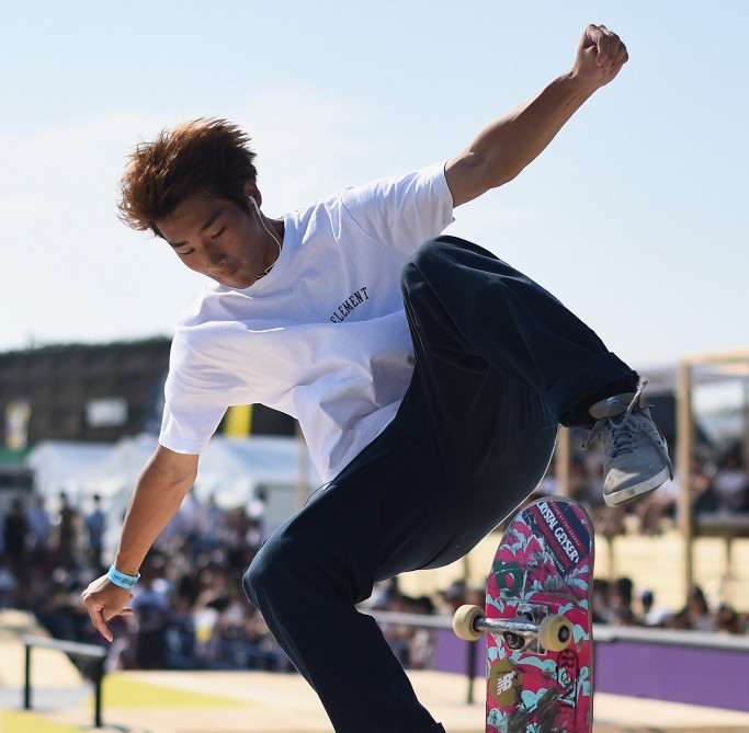 Japan's Ryo Sagawa continued his impressive run as he topped qualifying in the skateboard street competition at the FISE World Series in Montpellier ©Getty Images