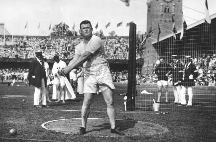 Matt McGrath of the United States en route to Olympic gold in the hammer at Stockholm 1912 ©Getty Images