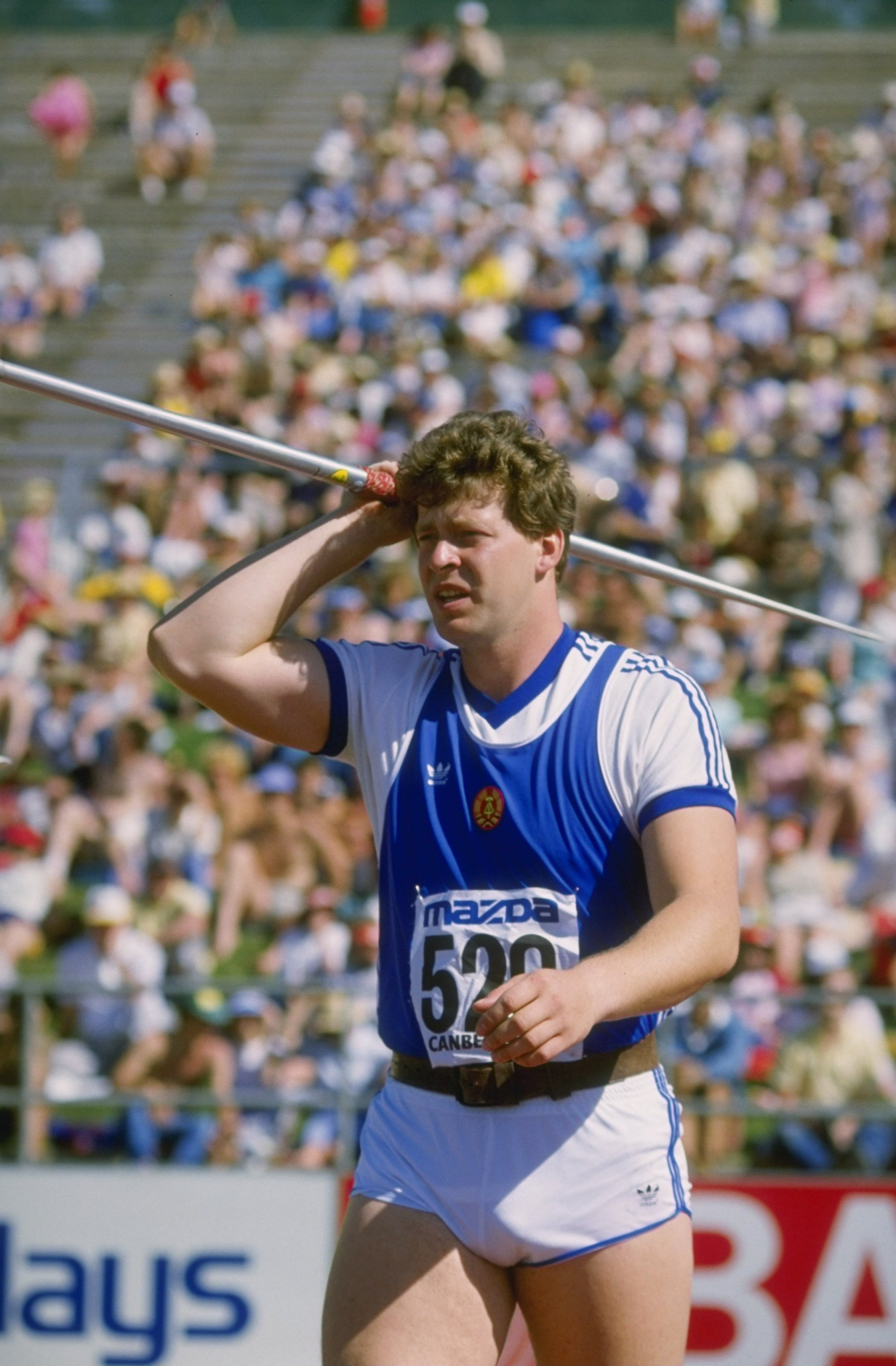 The 1984 achievement of East Germany's Uwe Hohn in throwing the javelin over 100 metres for the first time did not instigate the re-balancing of the spear to lessen distances - but it certainly accelerated it ©Getty Images
