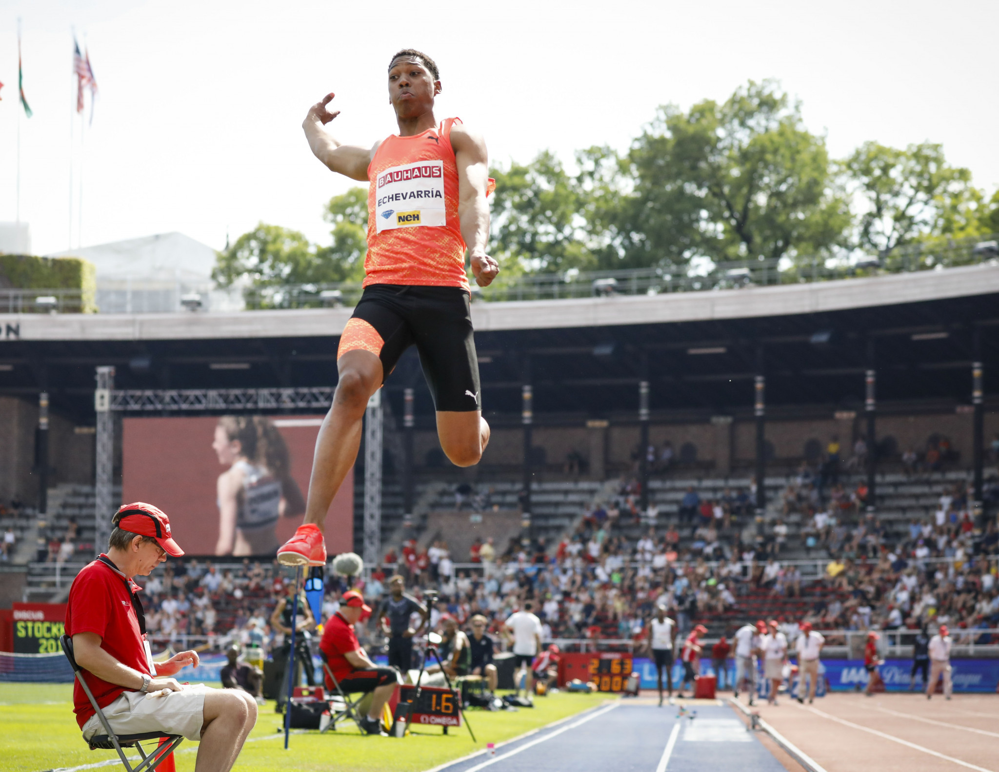 Juan Miguel Echevarria of Cuba produced an extraordinary long jump effort at last year's IAAF Diamond League meeting in Stockholm - and he's back again with records in mind ©Getty Images