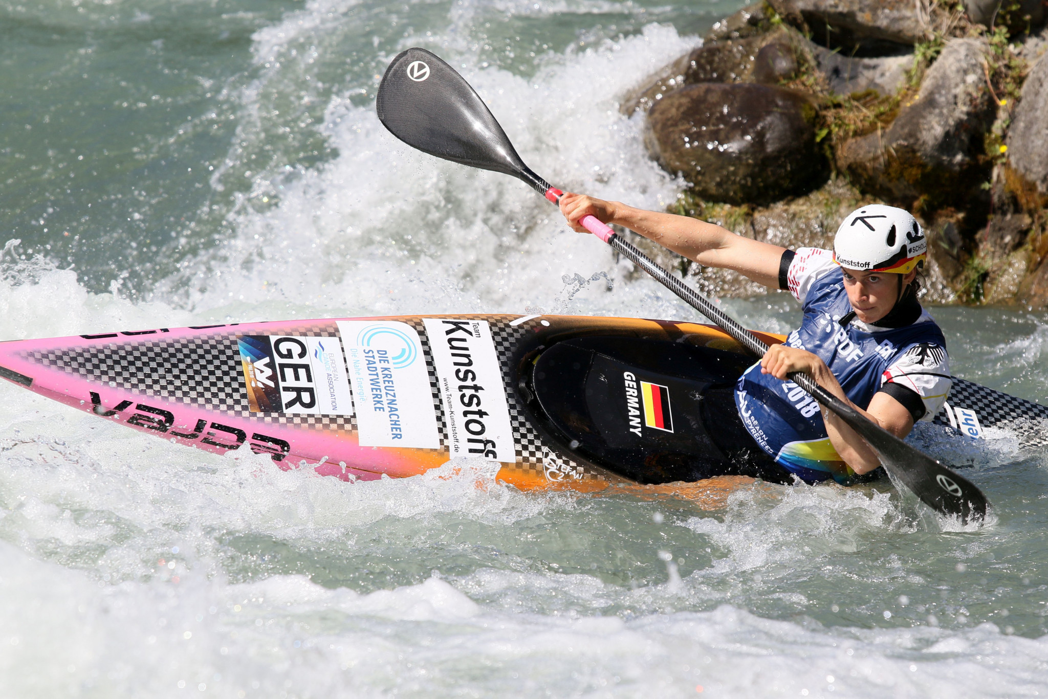 European champion Ricarda Funk from Germany produced the best run to win the women's kayak heats on the opening day of the ECA European Canoe Slalom Championships in Pau ©ECA