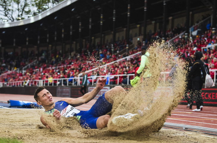 Long jumper Thobias Montler was  one of two home winners in cold and rainy conditions at tonight's IAAF Diamond League meeting in Stockholm, beating Cuba's Juan Miguel Echevarria ©Getty Images