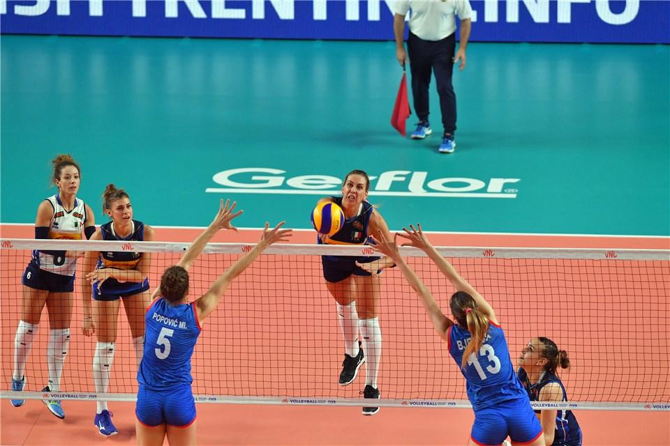 Italy defeated world champions Serbia in the FIVB Women's Nations League ©FIVB
