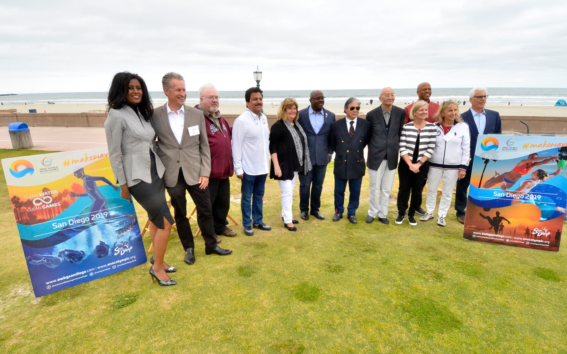 Officials from ANOC, led by secretary Gunilla Lindberg, fifth left, had visited San Diego on several occasions to inspect preparations for the first World Beach Games but the event is now being relocated ©San Diego 2019