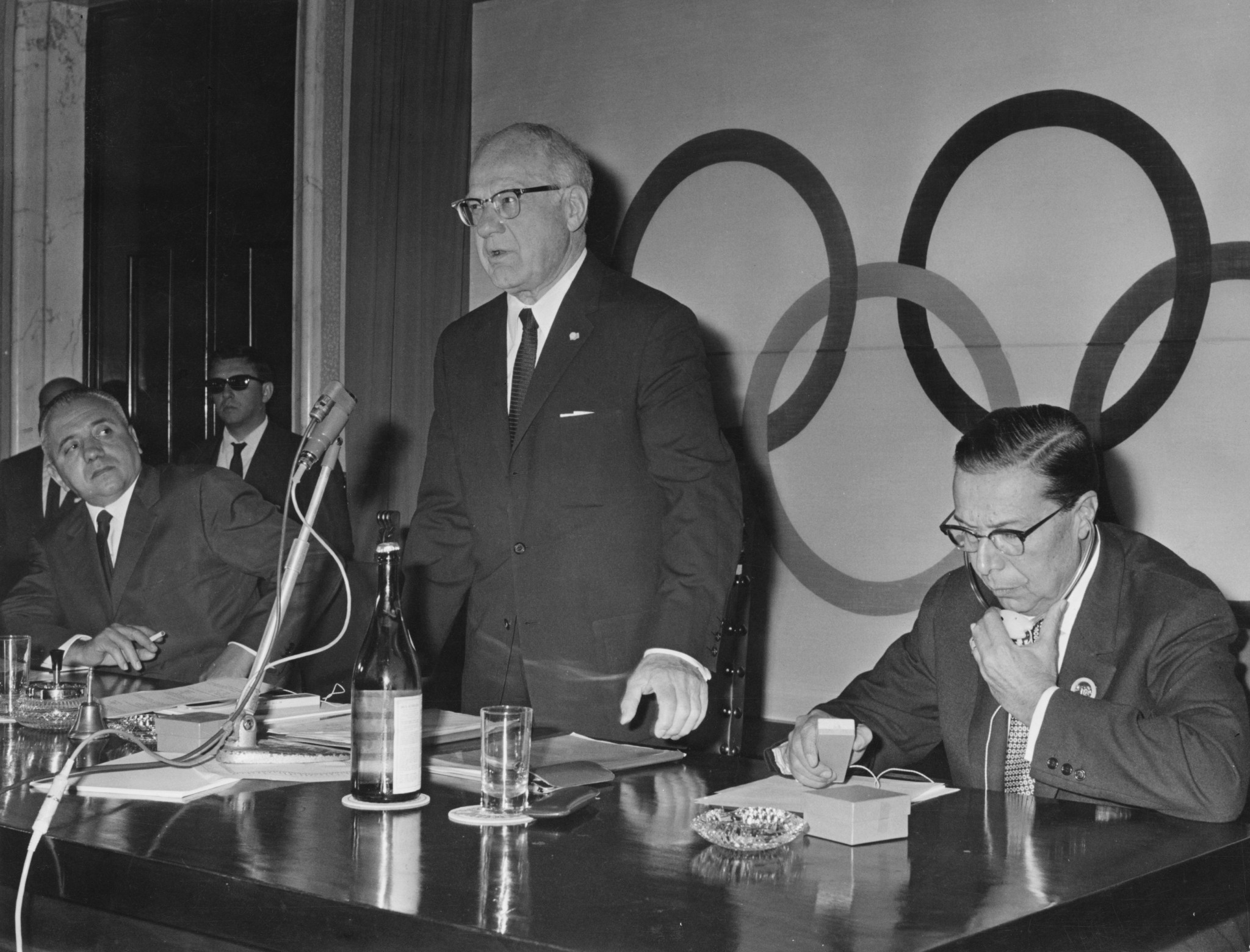 American Avery Brundage, centre, pictured in 1965, had put forward the motion that Leni Riefenstahl be awarded an Olympic diploma for the film she made about the 1936 Olympic Games in Berlin ©Getty Images