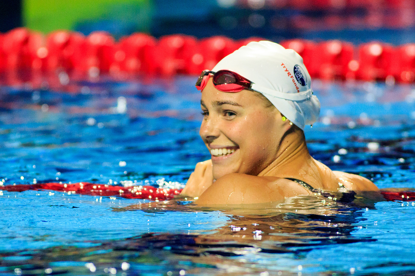 Pernille Blume of Denmark reacts after winning the 50m freestyle at the International Swimming Federation Champions Swim Series in Indianapolis ©Getty Images