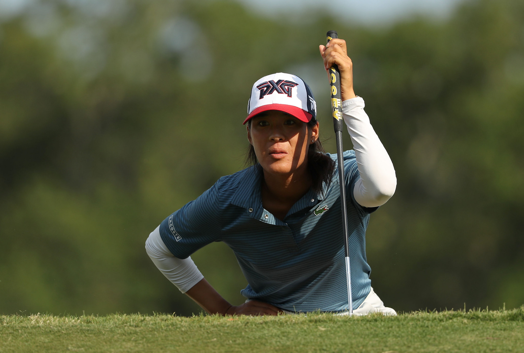 France's Céline Boutier lines up a putt on the 11th hole during the third round of the US Women's Open Championship ©Getty Images