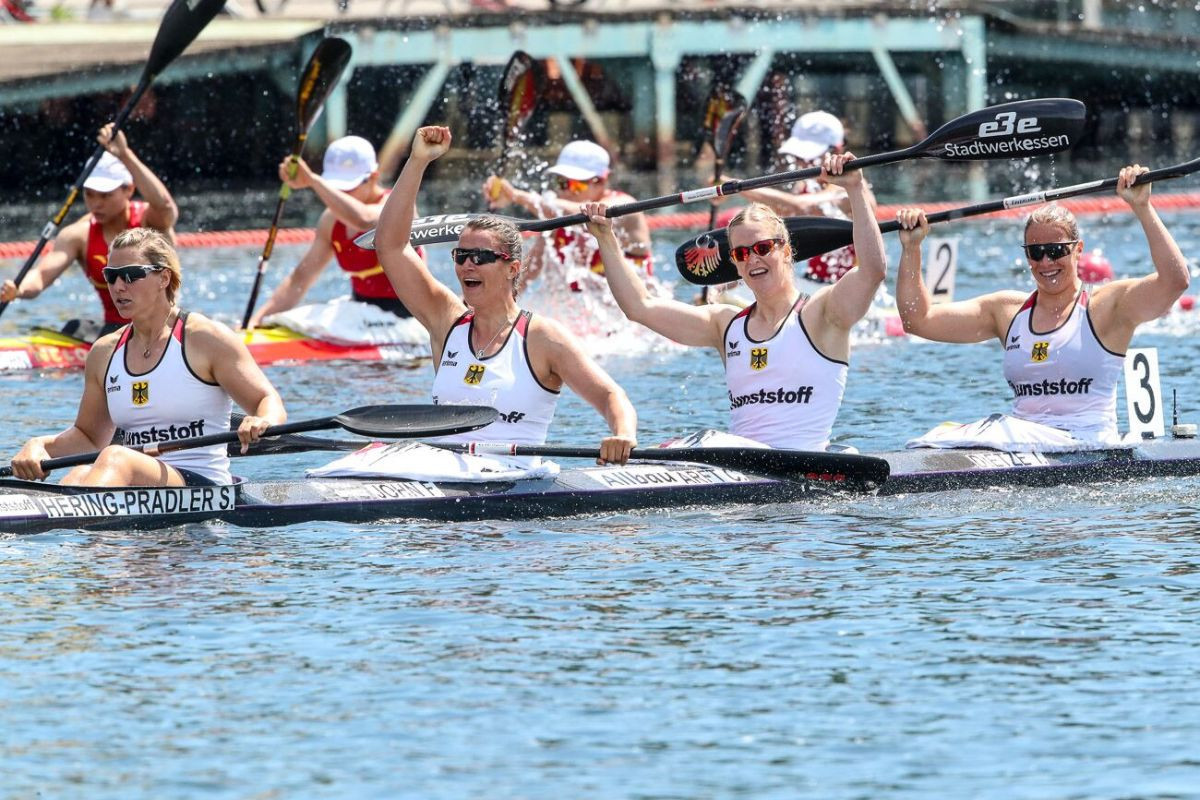 Germany's victory in the women's K4 500m restored morale after home crews suffered two shock defeats at the ICF Canoe Sprint World Cup in Duisburg ©ICF