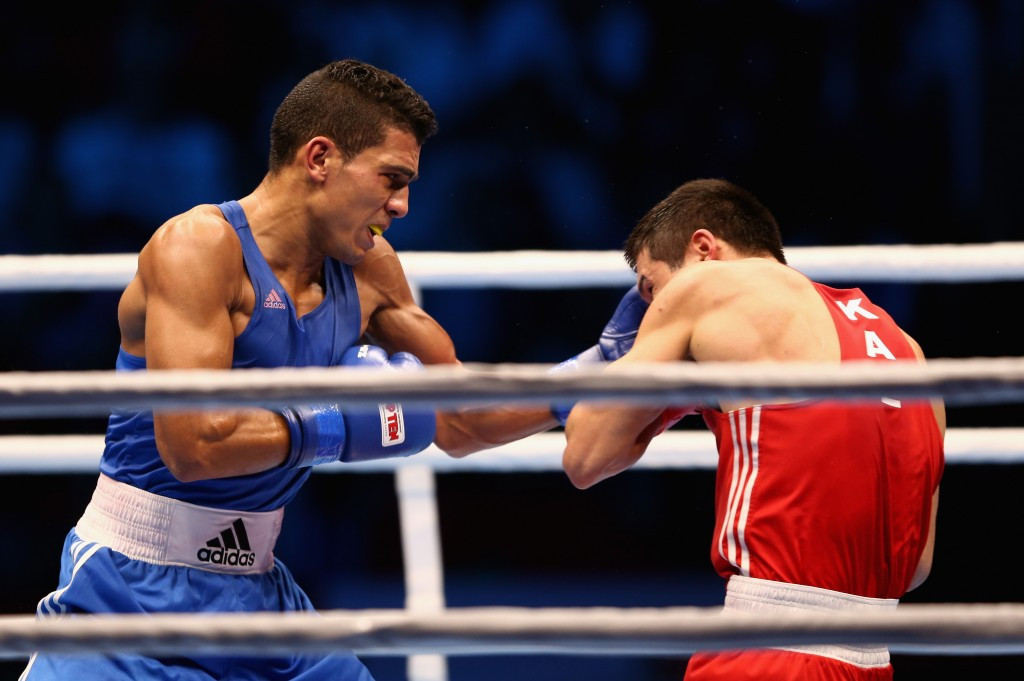 Morocco's Mohammed Rabii (blue) on his way to beating Kazakhstan's Daniyar Yeleussinov at the World Championships in Doha last month
