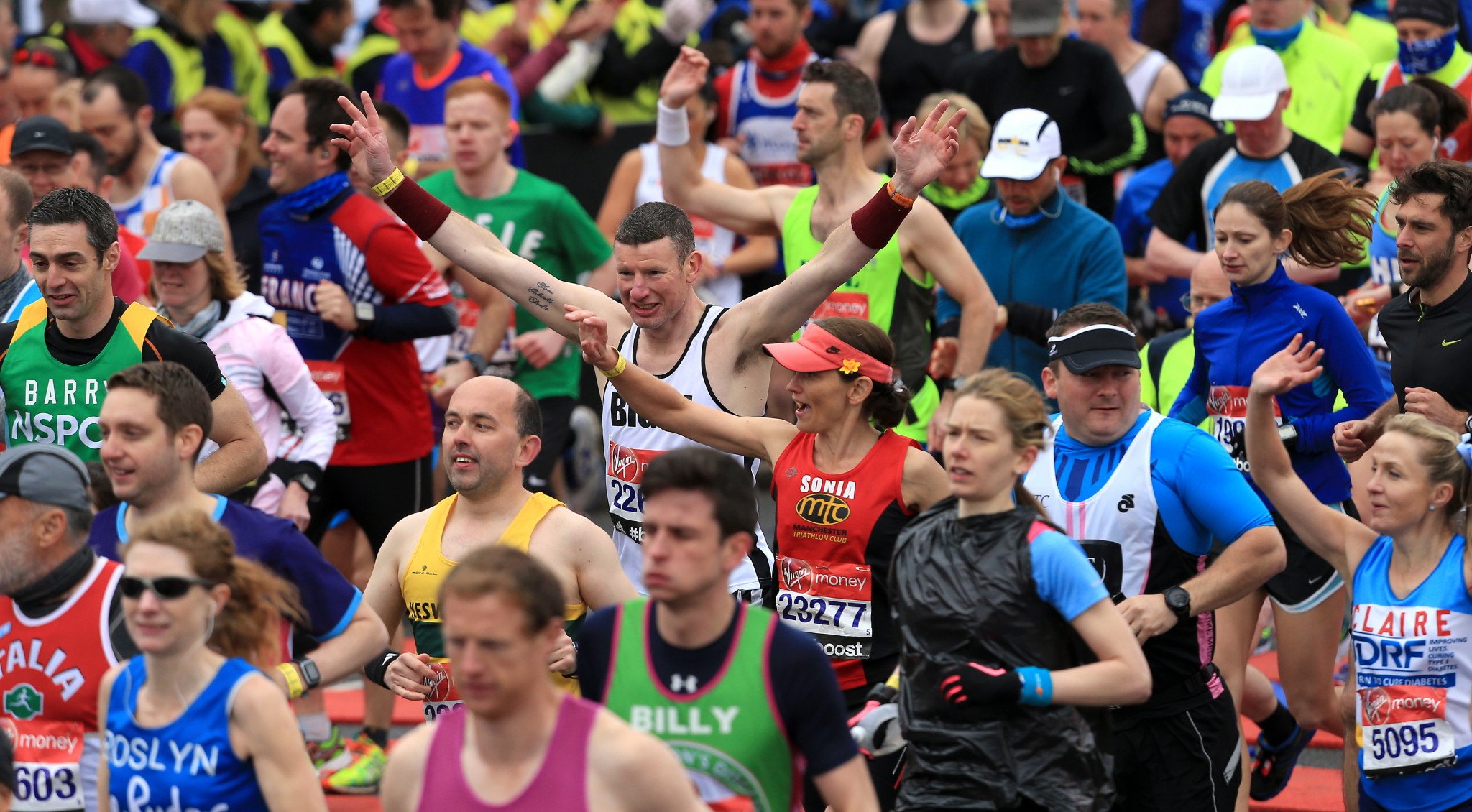 This year the main mass of those taking part in the London Marathon - 45,000 of them - will run the distance independently, tracked by an app, on the same day elite racing takes place ©Getty Images