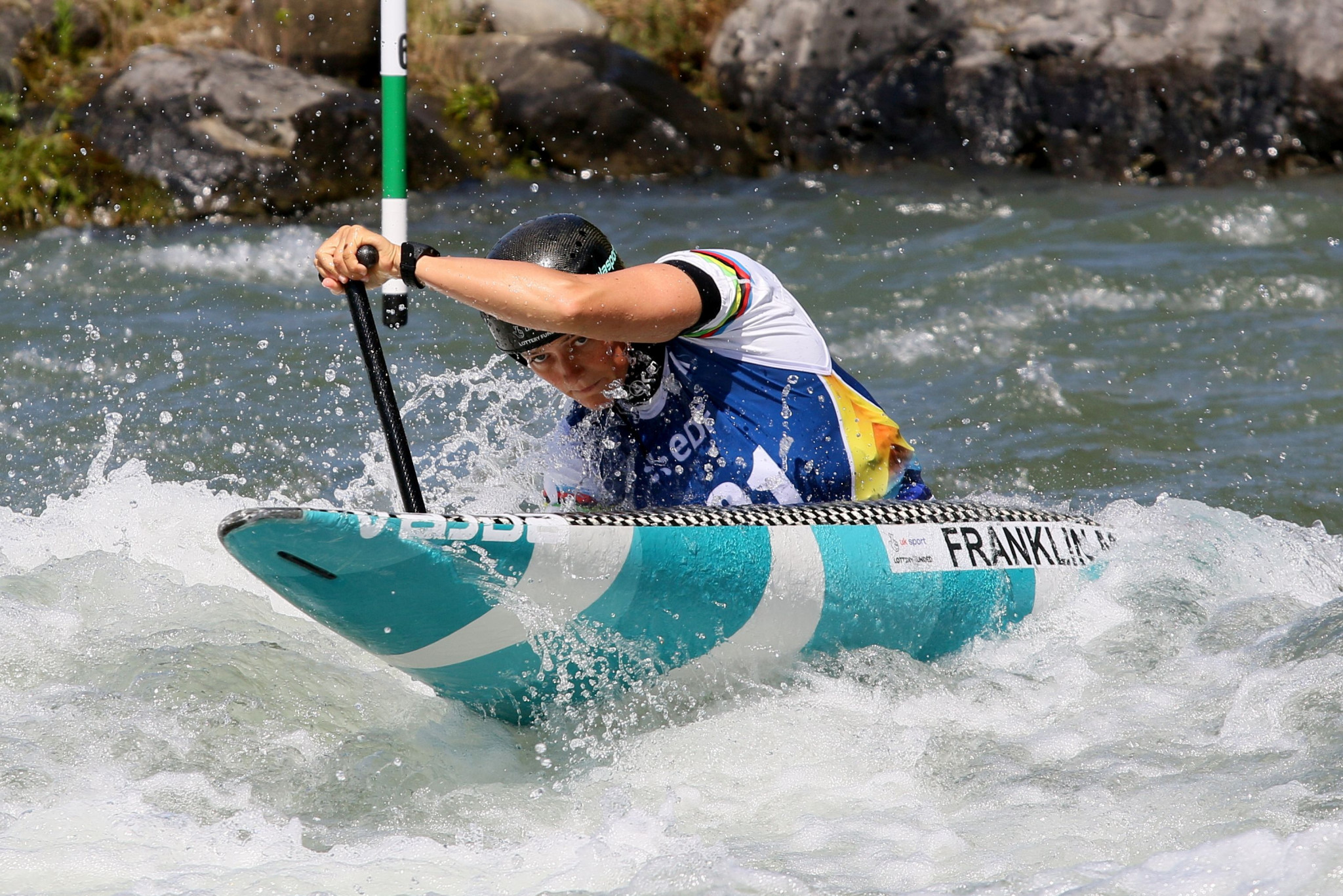 Britain's Mallory Franklin continued her love affair with the Pau course at the European Canoe Association European Canoe Slalom Championships ©ECA