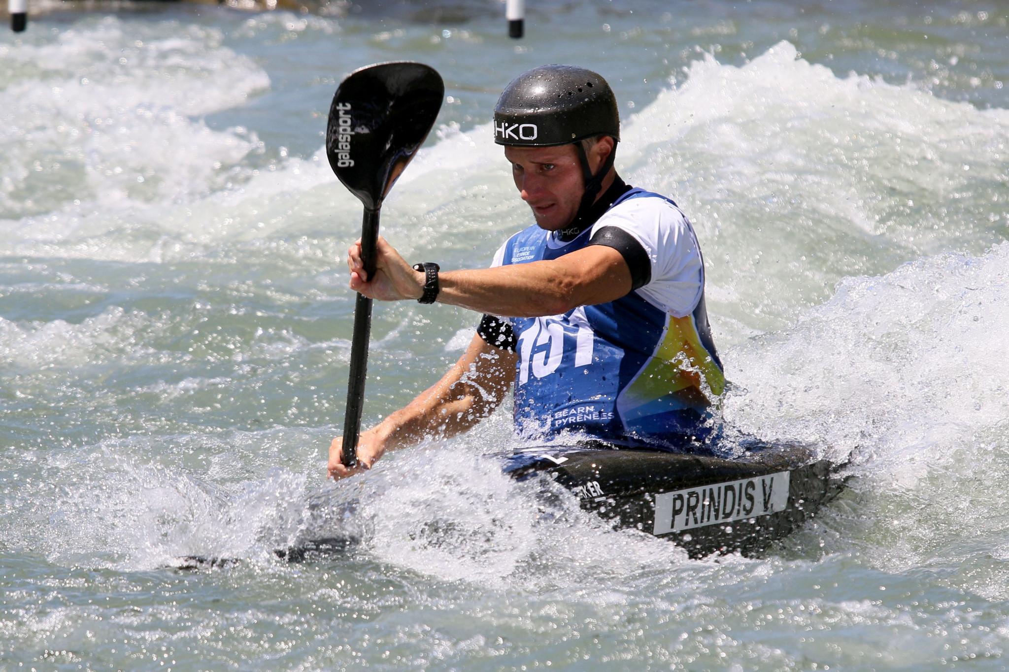 Czech paddler Vit Prindiš became European champion in the men's K1 event at the European Canoe Association European Canoe Slalom Championships ©ECA