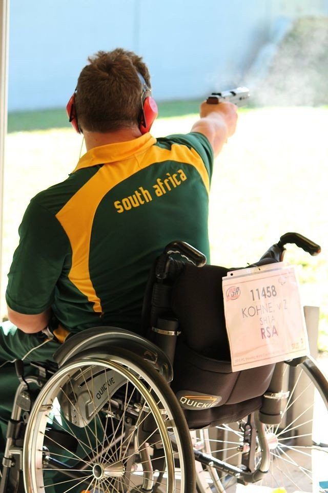 South Africa's Von Zeuner Kohne secured a Rio 2016 quota place for his country by finishing 10th in the mixed 25m pistol SH1 event ©IPC Shooting/Facebook