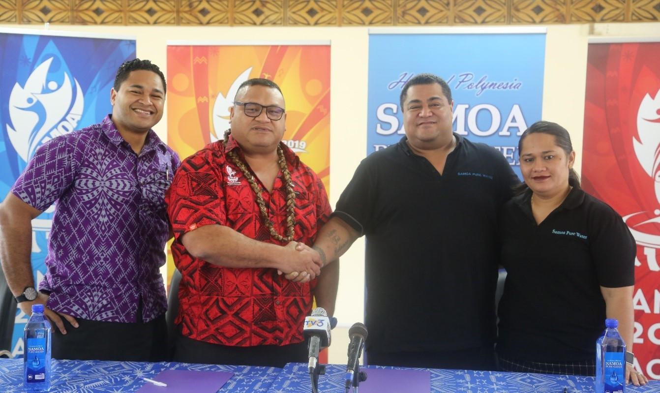 Samoa 2019 director of sponsorship Tagaloa Faafouina Su'a, second left, confirmed Samoa Pure Water have signed a deal for next month's Pacific Games ©Samoa 2019