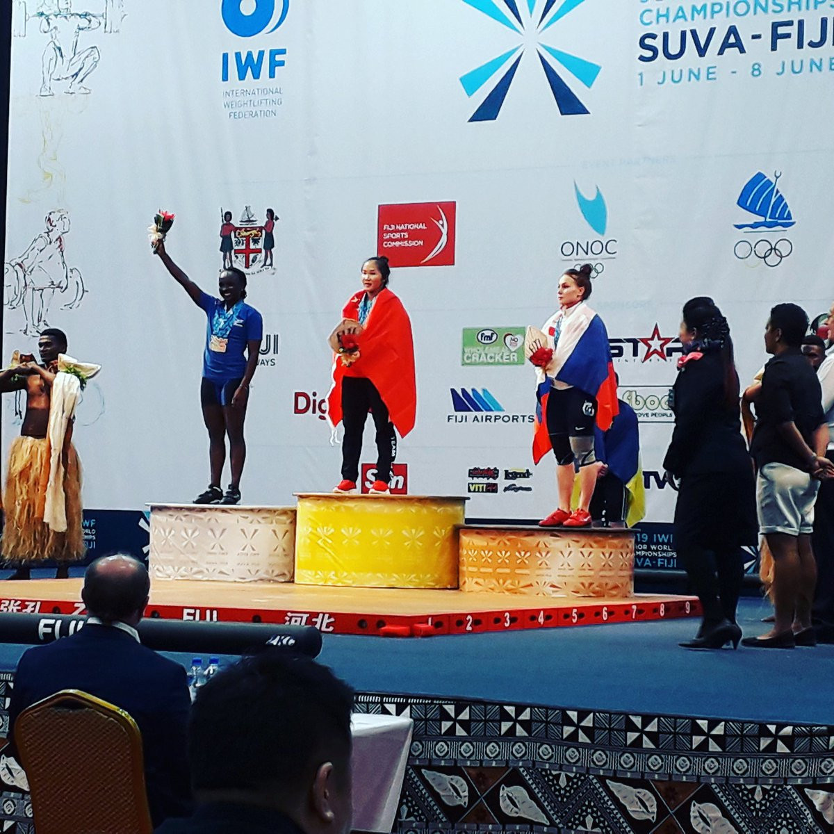 China's Gan Hongyan celebrates her victory in the 55kg category as its women's team maintained its 100 per cent success record at the IWF Junior World Championships in Suva ©Twitter