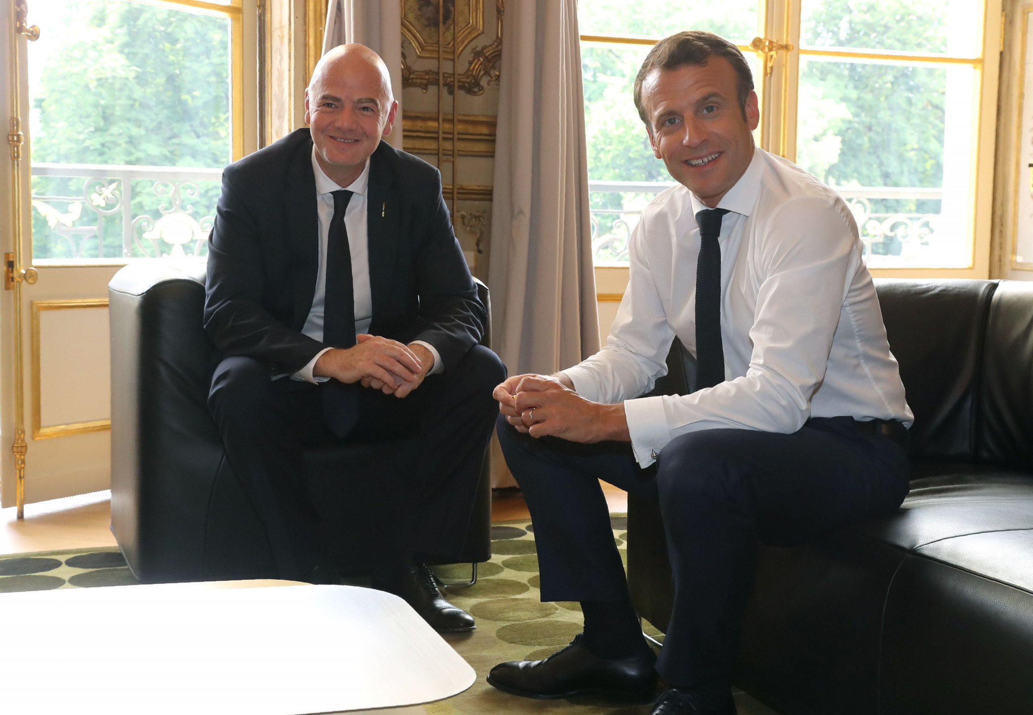 Infantino meets Macron on eve of re-election as FIFA President at Congress in Paris