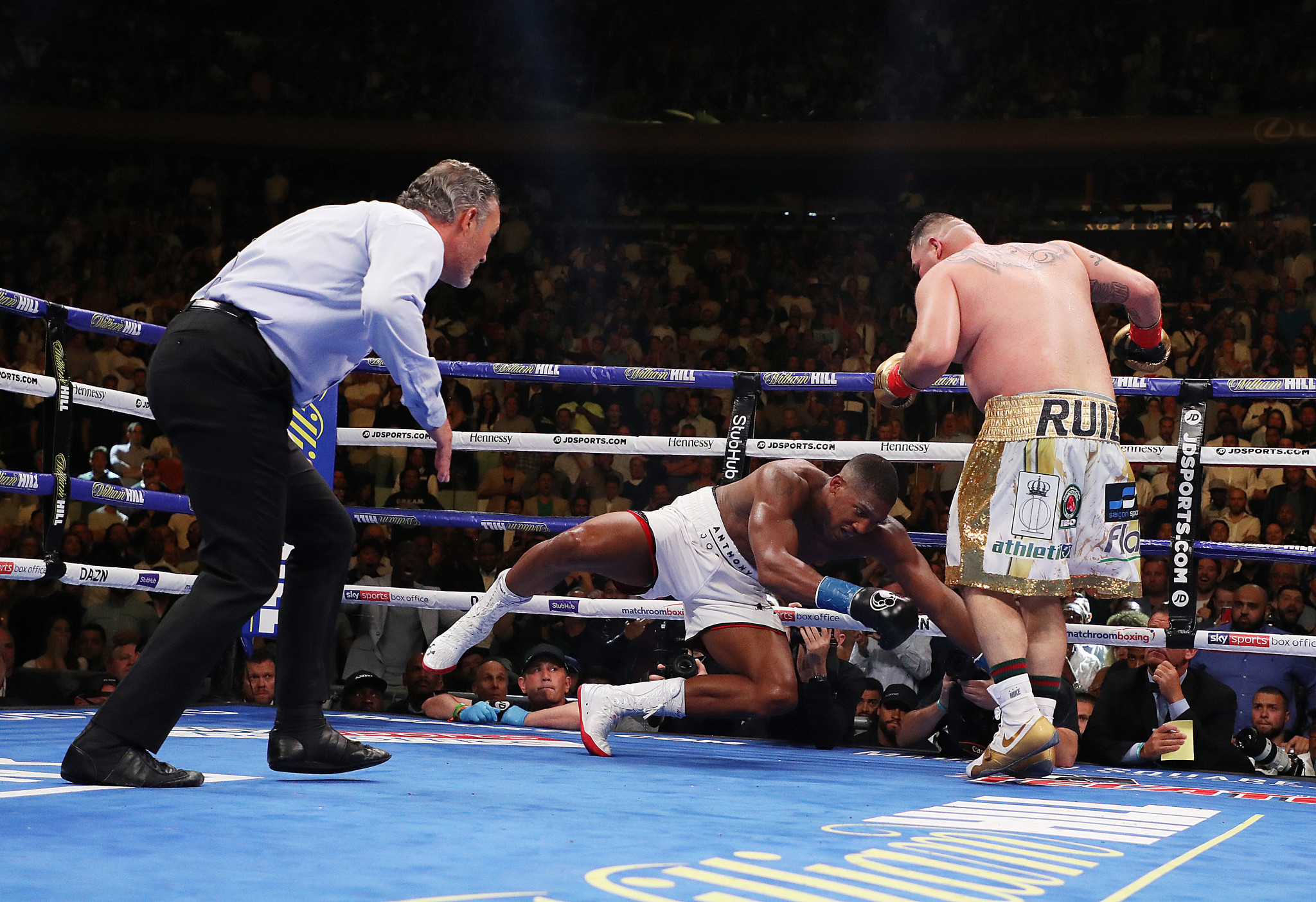 Anthony Joshua suffered one of the biggest upsets in boxing history when he lost his world heavyweight titles to Mexico's Andy Ruiz jnr at Madison Square Garden in New York City ©Getty Images