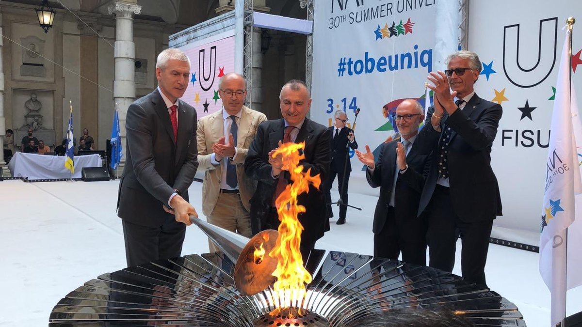 The cauldron was lit by International University Sports Federation President Oleg Matytsin as part of the Torch Lighting Ceremony at the University of Turin ©FISU
