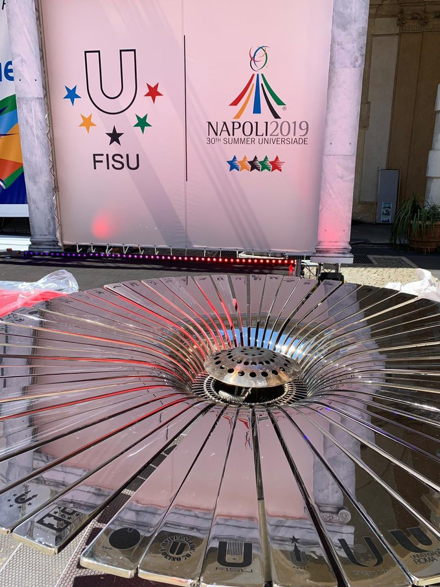 The cauldron used to light the Torch was engraved with the name and logo of every modern Universiade ©FISU