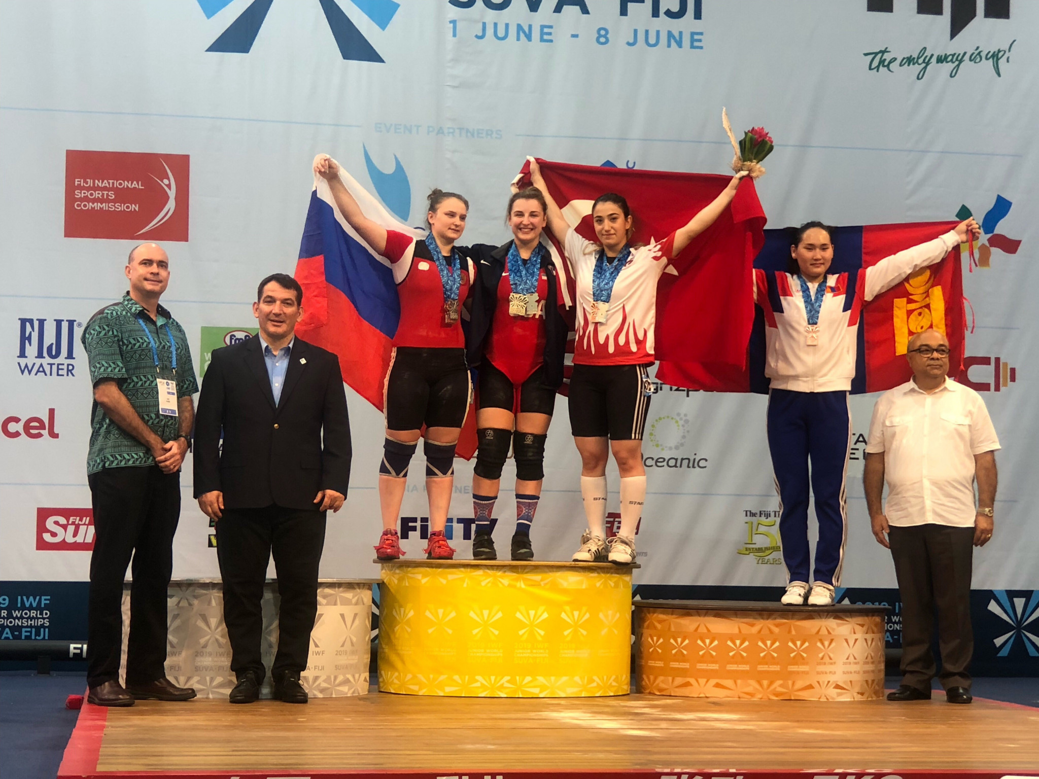 The United States' Kate Nye on the podium in Fiji ©USAW