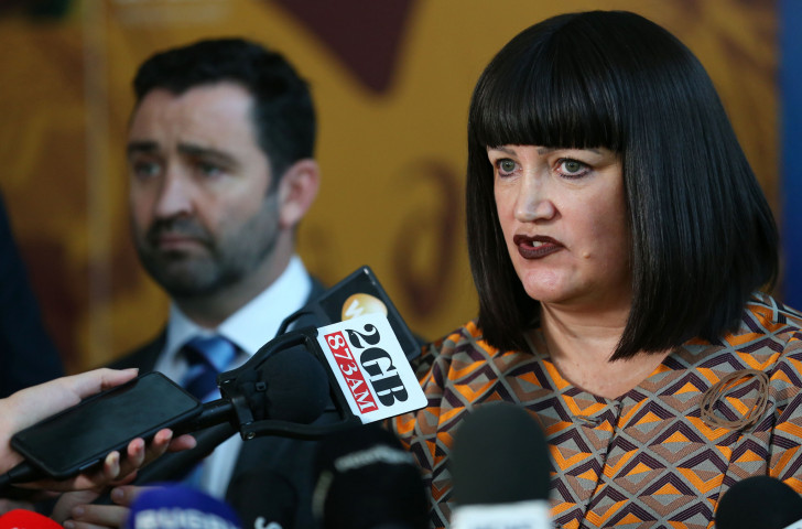 Rugby Australia chief executive Raelene Castle speaks to the media last month following the tribunal finding to uphold the sacking of Israel Folau after posts on social media that broke the player code of conduct ©Getty Images