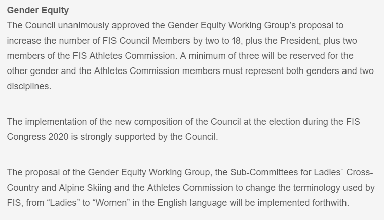 An extract of the FIS statement from the body's website ©FIS
