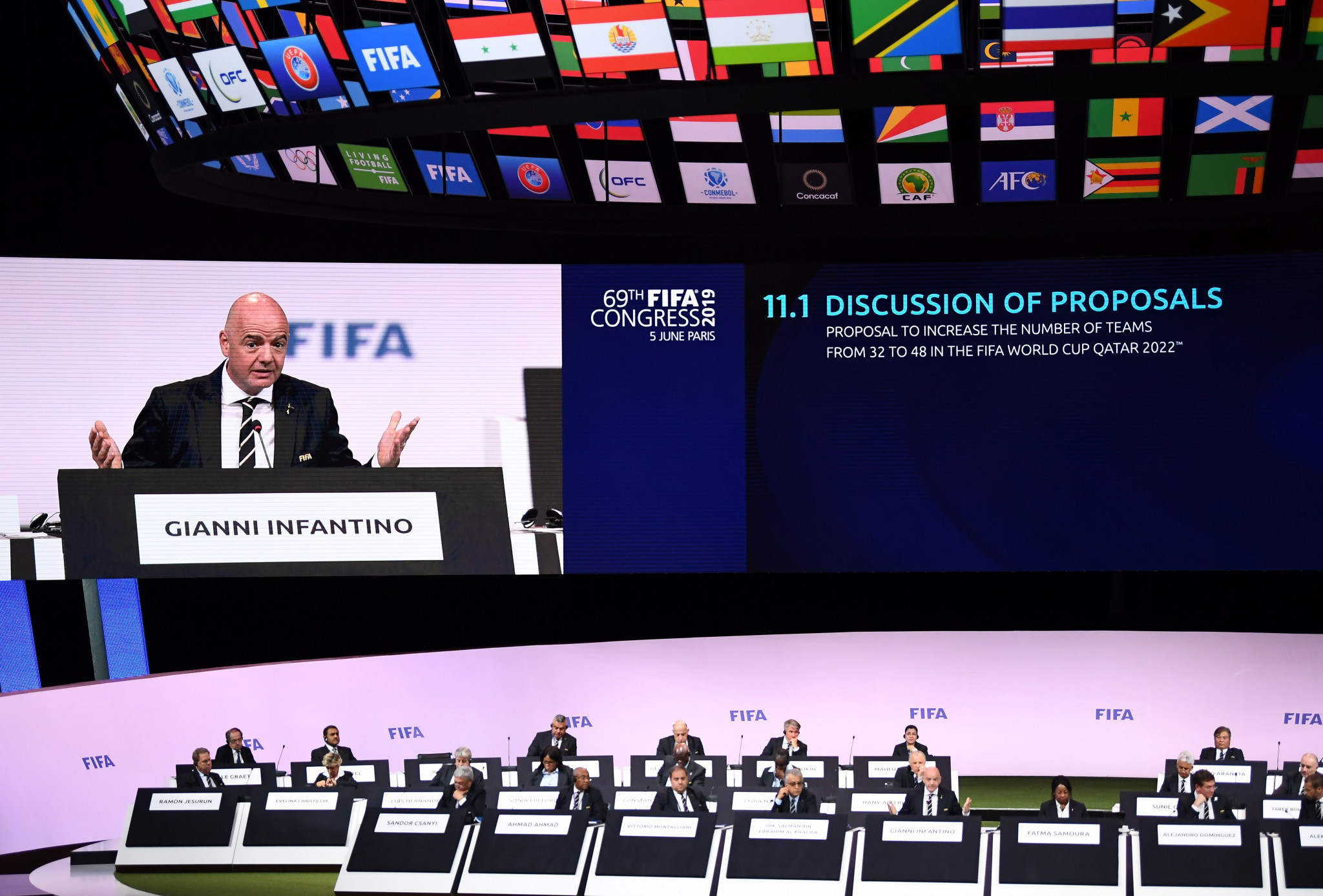 Gianni Infantino said he would continue his plans to expand FIFA's major competitions during his fresh four-year term as President ©Getty Images