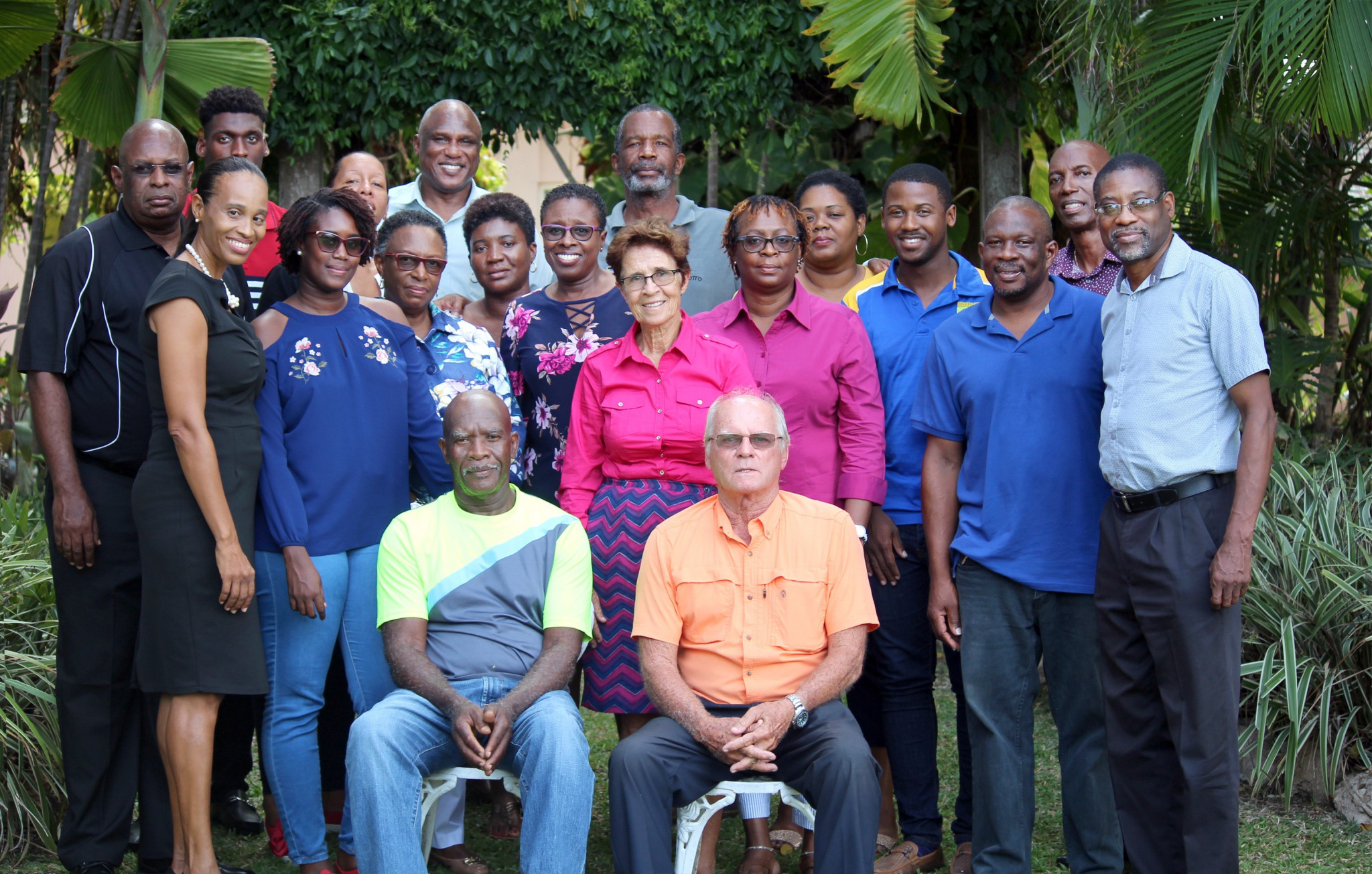 Members of the Barbados Olympic Association gathered at Golden Grove Great House as Dave Farmer and Charles Beckles retired ©BOA