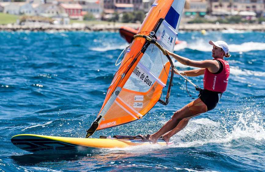 Lilian de Geus of the Netherlands is dominating the women's RS:X class at the World Cup Series Final in Marseille, safe in the knowledge she already has a place at the Tokyo 2020 Games ©World Sailing